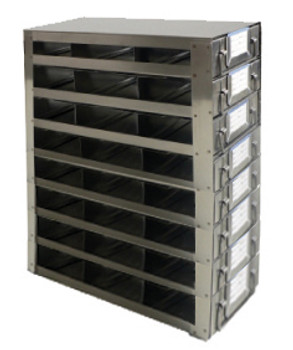 RDS2538A Argos Technologies Upright Freezer Drawer Rack for 25 Place Slide Boxes, Holds 24 Boxes, Stainless Steel (1 Rack)
