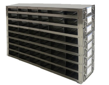 Argos Technologies Upright Freezer Drawer Rack for 25 Place Slide Boxes, Holds 48 Boxes, Stainless Steel (1 Rack)