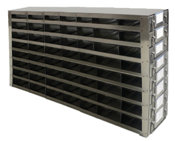 RDS2578A Argos Technologies Upright Freezer Drawer Rack for 25 Place Slide Boxes, Holds 56 Boxes, Stainless Steel (1 Rack)