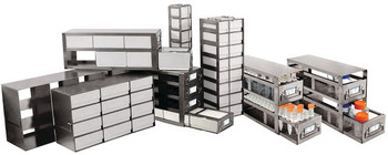 RDS10047A Argos Technologies Upright Freezer Rack for 100 Place Slide Boxes, Holds 28 Boxes, Stainless Steel (1 Rack)