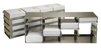 "RFE542A Argos Technologies Upright Freezer Eco-Rack for 2"" Cryoboxes, Holds 25 Boxes, Stainless Steel, 5 x 4 (1 Rack)"