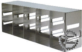 """RFE533A Argos Technologies Upright Freezer Eco-Rack for 3"""" Cryoboxes, Holds 9 Boxes, Stainless Steel, 5 x 3 (1 Rack)"""