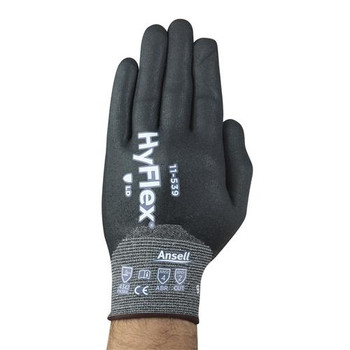 Ansell 11539100 11-539 HyFlex Fully Dipped Light Duty Gloves with INTERCEPT Technology and ANSELL GRIP Technology HyFlex Glove, 18 Gauge, HPPE, Nylon & Spandex Seamless Liner with ANSELL GRIP Technology, Full Coat with a Spandex Polyester Knitwrist,