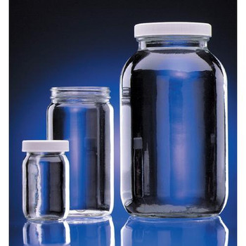 DWK Life Sciences (Wheaton) W216931 Clear Wide Mouth Glass Bottles Bottle Clear Wide Mouth 16 oz w / Cap Cs/24  (Case of 24)
