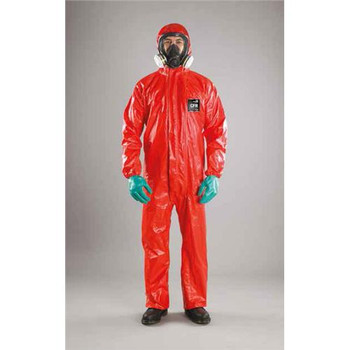 Ansell RD96-T-92-111-02 MICROCHEM by AlphaTec CFR Coveralls with Hoods CFR Coverall w/ 2-Piece Hood, Elasticated Hood/Wrists/Ankles, Double Zip Closure, Red, S (Case of  20)