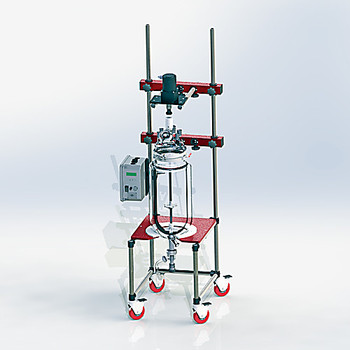 Ace Glass 10001-501-EA Reactor, 50 liter flush valve jacketed vessel, 300mm flask head (45/50 center, (5)45/50, (1)100mm port) and a flange mounted 3/8hp brushless DC stir motor, 120vac control, stir shaft and agitators ( Each of 1)
