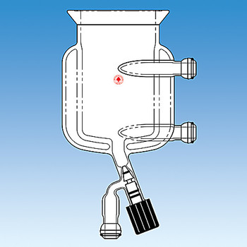 Ace Glass 6429-242-EA 3000mL, two-piece jacketed pressure reactor complete with 0-10mm valve and 28/15 ball joint bottom outlet, 28/15 ball joint inlet/outlets,150mm 6 neck head,addition funnel, condenser,pressure manifold and stirring assembly ( Each of 1)