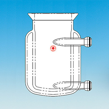 Ace Glass 6427-223-EA 3000mL, two-piece jacketed pressure reactor, complete with 28/15 ball joint inlet/outlets,150mm head with #15 center, (4) #15, (1) #7 side necks, addition funnel, condenser, pressure manifold and stirring assembly ( Each of 1)