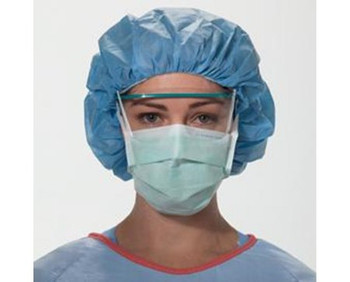 O&M Halyard Inc #28806 ASTM Level 1 Surgical Mask FluidShield Anti-fog Foam Pleated Tie Closure One Size Fits Most Green NonSterile (box of 50)