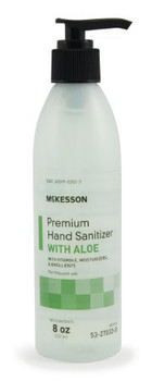 McKesson Premium 53-27033-8C Hand Sanitizer with Aloe, 8 oz. Ethyl Alcohol Gel Pump Bottle (Each)