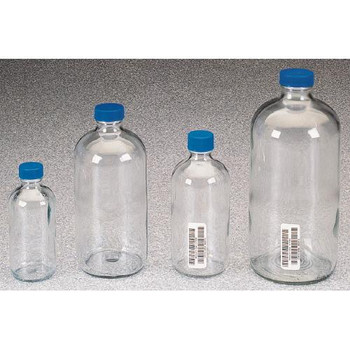 I-Chem 329-0250 Boston Round Clear Glass Bottles Bottle Boston Round Clear Narrow Mouth 2  (Case of 12)