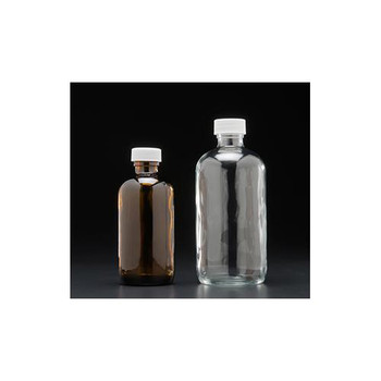 J.G. Finneran D0168-16 Boston Round Glass Bottles, PE Cone Lined, Standard 16oz, 500mL, Amber, Boston Round Bottle Assembled with 28-400mm Thread, White Polypropylene Clsoure, F217 Lined, Standard  (Package of 12)
