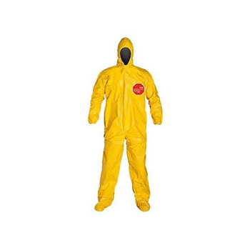 QC122TYLMD000400 DuPont Tychem 2000 Coveralls with Standard Fit Hood, Elastic Wrists & Attached Socks (Taped Seams) Tychem 2000 Coverall, Standard Fit Hood, Elastic Wrists, Attached Socks, Storm Flap with Adhesive Closure, Taped Seams, Yellow, MD