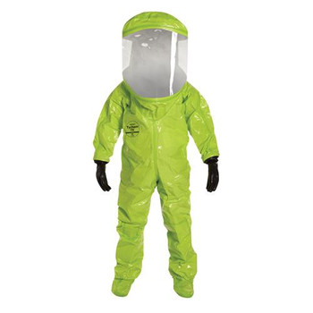 TK555TLY3X000100 DuPont Tychem 10000 Encapsulated Level A Suits with Expanded Back & Rear Entry Tychem 10000 Encapsulated Level A Suit, Expanded Back, Rear Entry, Lime Yellow, 3XL Case of  1