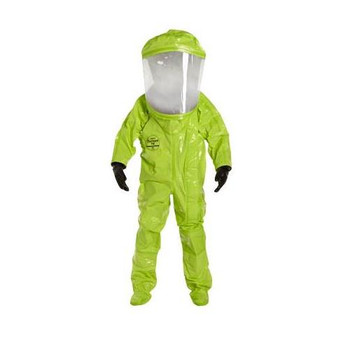 TK612TLY4X00017S DuPont Tychem 10000 Encapsulated Level A Suits with Front Entry (Certified to NFPA 1994, Class 2) Tychem 10000 Encapsulated Level A Suit, Expanded Back, Front Entry, Lime Yellow (Certified to NFPA 1994, Class 2), 4XL (with pass-t