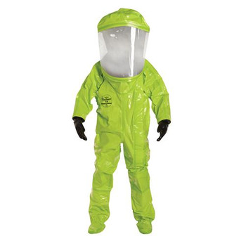 TK554TLYXL00017S DuPont Tychem 10000 Encapsulated Level A Suits with Expanded Back & Front Entry Tychem 10000 Encapsulated Level A Suit, Expanded Back, Front Entry, Lime Yellow, XL (with Scott #803620-01 w/ Hansen fitting (right side)) Case of