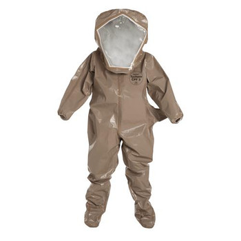 C3526TTNSM000600 DuPont Tychem 5000 Encapsulated Level B Suits with Flat Back & Rear Entry Flat Back, Rear Entry, Standard Visor, 1 Layer: 20 mil PVC, Elastic Wrists, Attached Socks with Outer Boot Flaps, Double Storm Flap with Hook & Loop Closure,