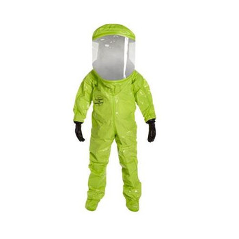 TK613TLYMD000100 DuPont Tychem 10000 Encapsulated Level A Suits with Rear Entry (Certified to NFPA 1994, Class 2) Tychem 10000, Encap. Level A, Expanded Back, Rear Entry, Certified to NFPA 1994, Class 2, Double Taped, Lime Yellow, M Case of  1
