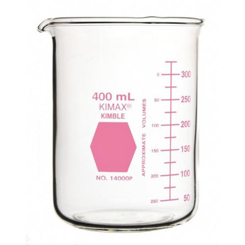 14000P-400 DWK Life Sciences (Kimble) KIMAX Pink Colorware Low Form Griffin Beakers Low Form Griffin Beaker, 400mL, Pink Case of  12