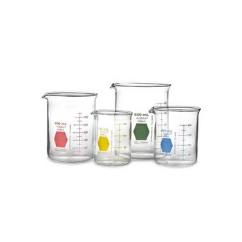 14000B-400 DWK Life Sciences (Kimble) Colorware Low Form Griffin Beakers Beaker, 400 ml, Blue Case of  12