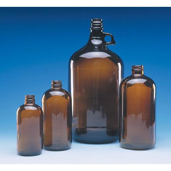 W217957 DWK Life Sciences (Wheaton) Amber Safety Coated Bottles 250mL Boston Round Type III Glass Bottle, Amber, with White Polypropylene PTFE/PE Lined Cap, Safety Coated Case of  12