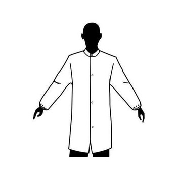 876855-XL Epic Medical 3-Layer Microporous Film Coated Cleanroom Smocks Smock, White, Clean-MP, Elastic Wrist, Mandarine Collar, No Pockets, XL Case of  30