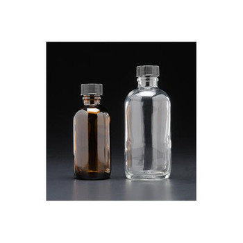 J.G. Finneran 9A-163 Amber Narrow Mouth Septum Bottle, Standard 8oz, 250mL, Amber Narrow Mouth Septum Bottle, 24-400mm, Thread, Black PP Closure, PTFE/Silicone Liner, Standard  (Package of 12)