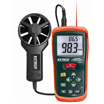 407123-NIST Extech CFM/CMM Mini Thermo-Anemometer Heavy Duty Hot Wire Thermo-Anemometer with NIST Each of  1