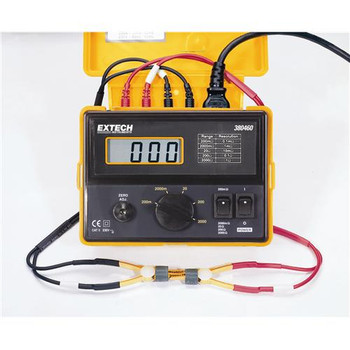 380580-NIST Extech Milliohm Meter, 4-Wire, 110Vac Battery Powered Milliohm Meter with NIST Each of  1