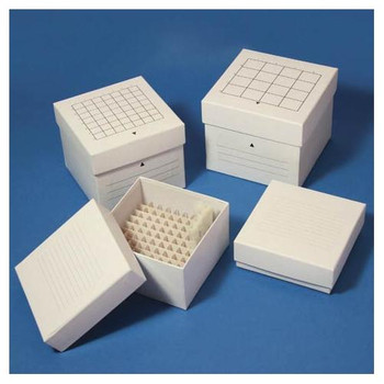 Globe Scientific 3095-1 Cardboard Storage Boxes 81 Place (9x9), white, for up to 3\  (Each of 1)