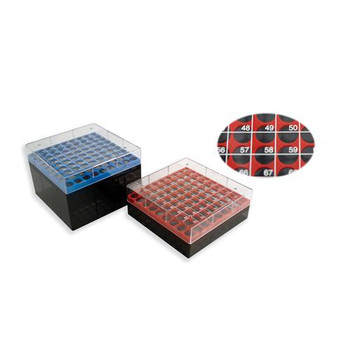 3040R Globe Scientific Storage Boxes for Cryogenic Tubes Storage box for 1 & 2mL cryogenic tubes, Red Package of  5