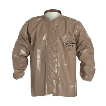 DuPont C3670TTN4X0006JF Tychem 5000 Jackets with Jam Fit Cuffs Mandarin Collar, Jam Fit Cuff, Extends to Hip, Double Storm Flap w/ Hook & Loop Closure, Taped Seams, Tan, 4XL  (Case of 6)