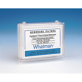 7060-4714 GE Healthcare Whatman Cyclopore PC Polycarbonate Membrane Filters Cyclopore Polycarbonate Membrane, 8.0 a?????m pore size, 47 mm circle (100 pcs) Package of  100