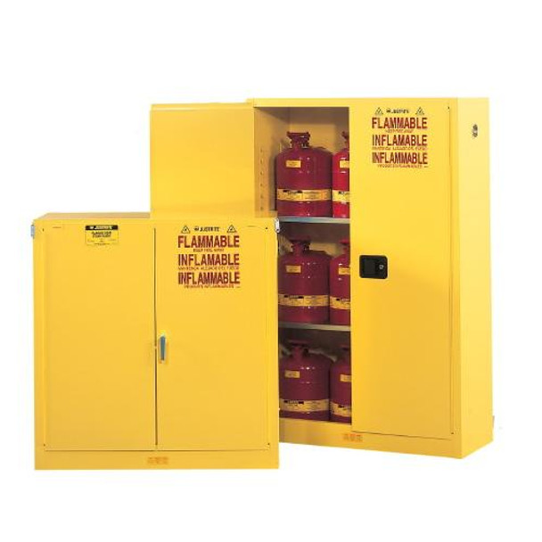 Justrite 896020 Flammables Safety Cabinets Safety Cabinets, Flammables, 2 Door, Self-Close, Lever, 2 Shelves, 65' X 34' X 34', 60 Gal.  (Each of 1)