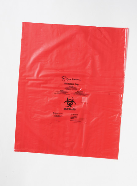 HS10323 Heathrow Scientific Biohazard Bag , Polypropylene, 633 mm  X   838 mm, Red, 0.04 mm Thickness (Case of 200)
