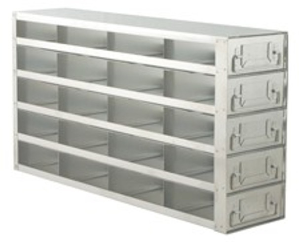 """RD452A Argos Technologies Upright Freezer Drawer Rack for 2"""" Cryoboxes, Holds 20 Boxes, Stainless Steel, 4 x 5 (1 Rack)"""