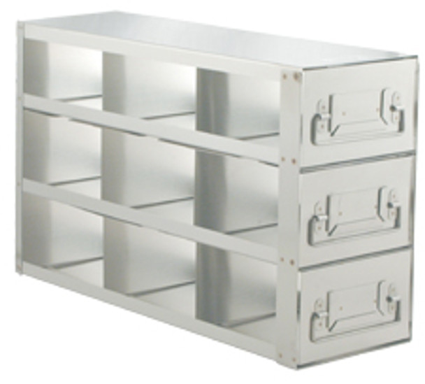 """RD233A Argos Technologies Upright Freezer Drawer Rack for 3"""" Cryoboxes, Holds 6 Boxes, Stainless Steel, 2 x 3 (1 Rack)"""