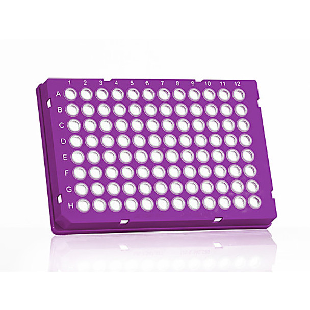 4titude 4ti-0960-PK FrameStar 96 Well Skirted PCR Plate; clear PP wells, purple PC frame, cut corner H1, 50 plates ( Package of 50)