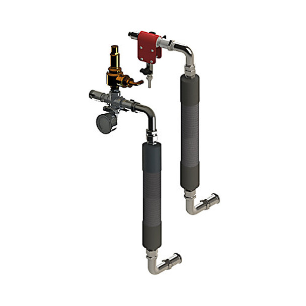 Ace Glass 10015-05-EA Complete inlet and outlet manifold set for use with 30L to 150L flasks with 1.5in beaded pipe connections, 10PSI relief pressure, M24x1.5 circulator connections. ( Each of 1)