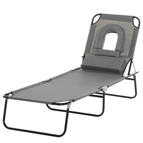 OUTSUNNY Folding Sun Lounger Reclining Chair With Pillow