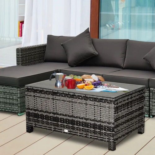 Grey Rattan Garden Coffee Table With Tempered Glass Top