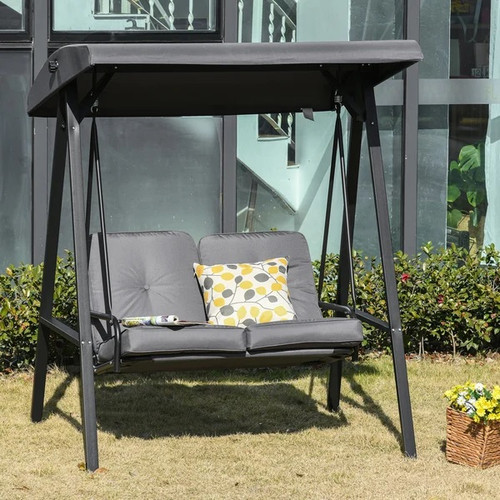 Grey Patio Swing Chair 2 Seater