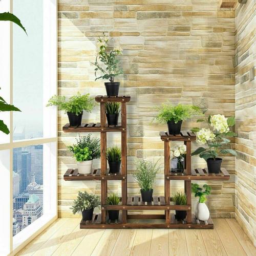 6 Tier Flower Rack Wood Plant Stand Pot Display