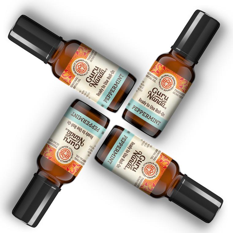 4 pack of Guru Nanda Essential Oil Peppermint Roll ons