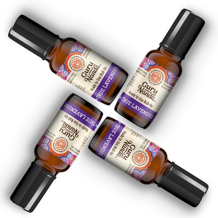 4 pack of guru nanda lavender essential oil roll ons