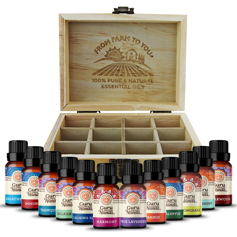 Guru Nanda (Set of 12) Essential Oils with Wooden Storage Box