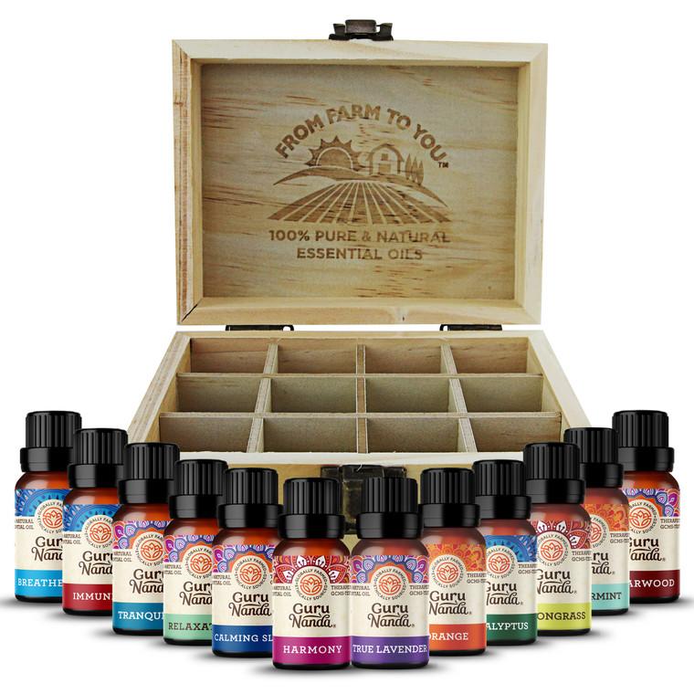 Guru Nanda (Set of 12) Essential Oils with Wooden Storage Box