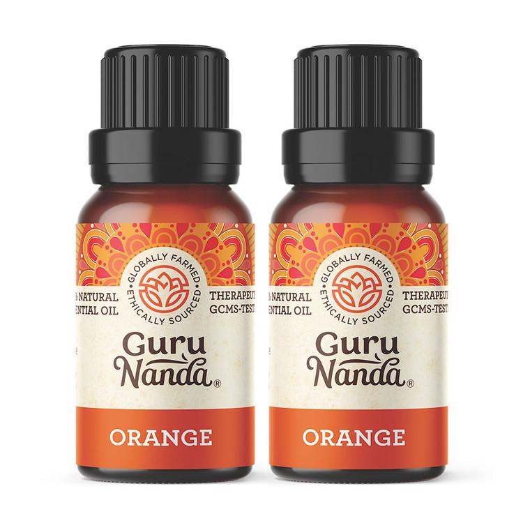 Guru Nanda Orange essential oil 2 pack bottles on white background