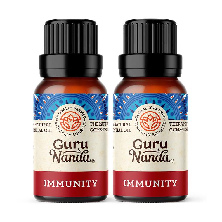 GuruNanda Immunity essential oil blend. 2 bottles on white background