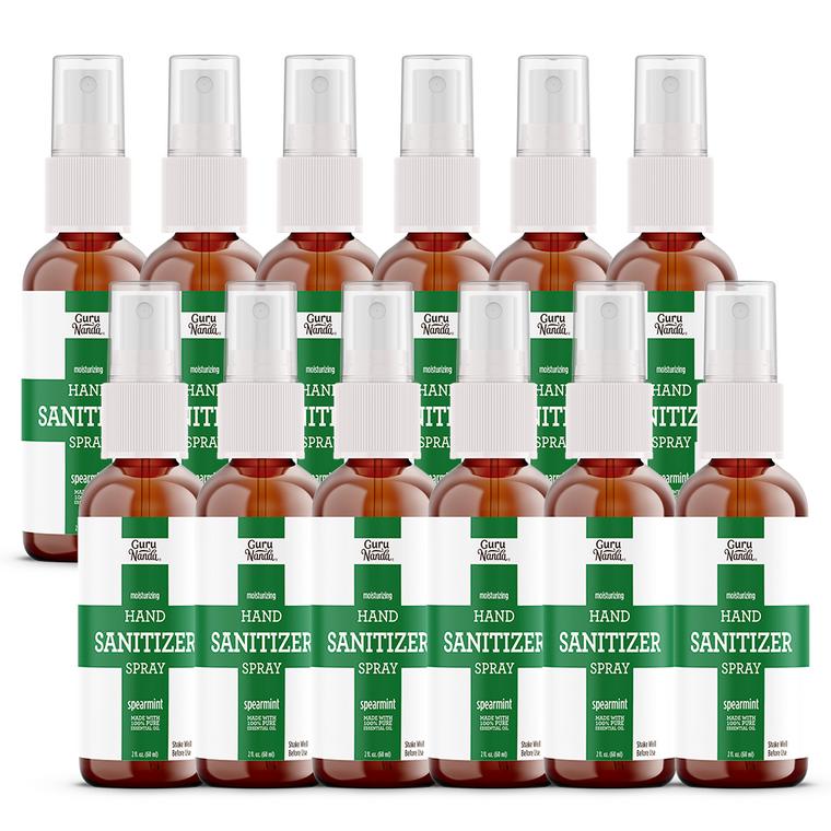 12 pack Spearmint hand sanitizer on white background